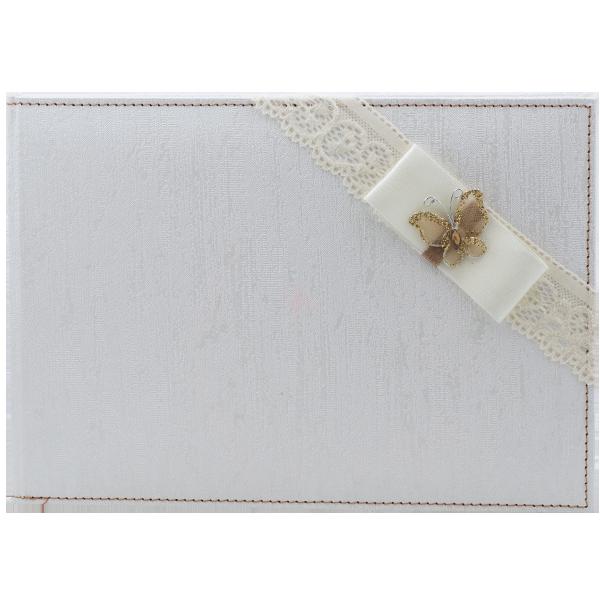 Caiet de amintiri alb cu dantela si fluturas